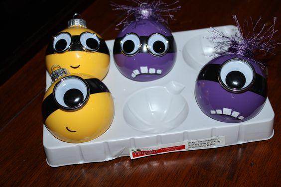 Cute diy yellow and purple minion ornaments
