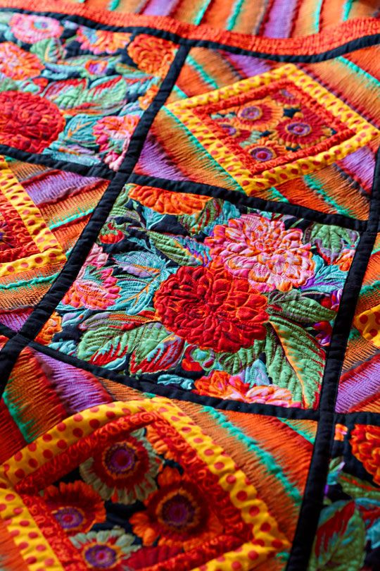 Beautiful echo quilting on a quilt top!!!