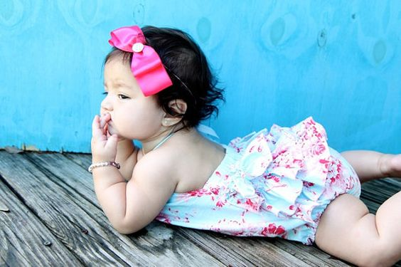 Ruffled Baby Girl Romper Vintage Shabby Chic- all sizes available. $35.00, via Etsy. LOVE IT.
