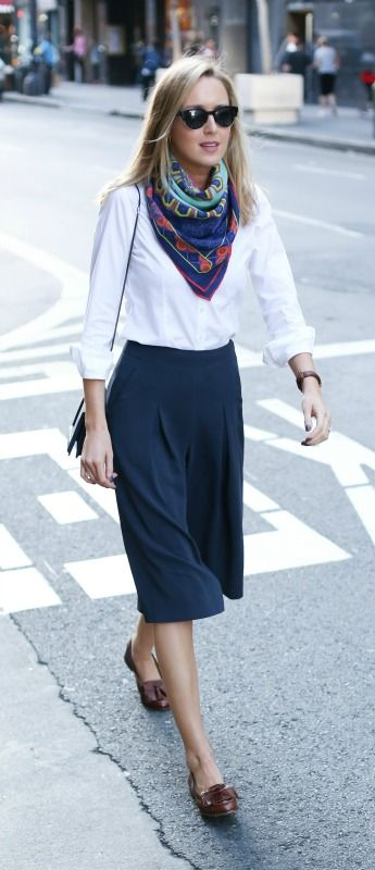 navy culottes, white dress shirt, vintage neck scarf, loafers, crossbody bag   sunglasses {workwear, office style}:
