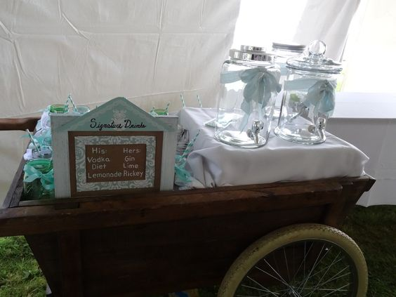 Signature Drinks sign by Kate Crane. Decanters and Cart from Maine Season Rentals