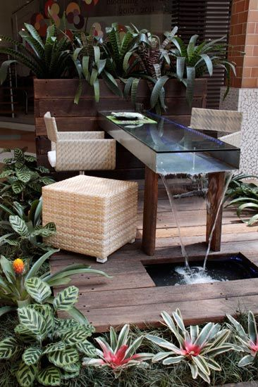 terraco jardins clinica:urso (folhagem fina do gênero ophiopogon). A mesa de inox ao centro