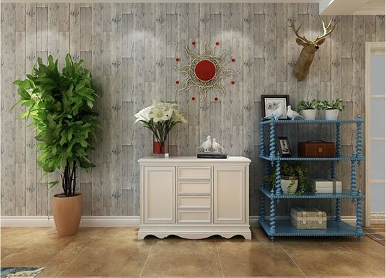 Blooming wall faux wooden planks wood panel wallpaper for Amazon mural wallpaper