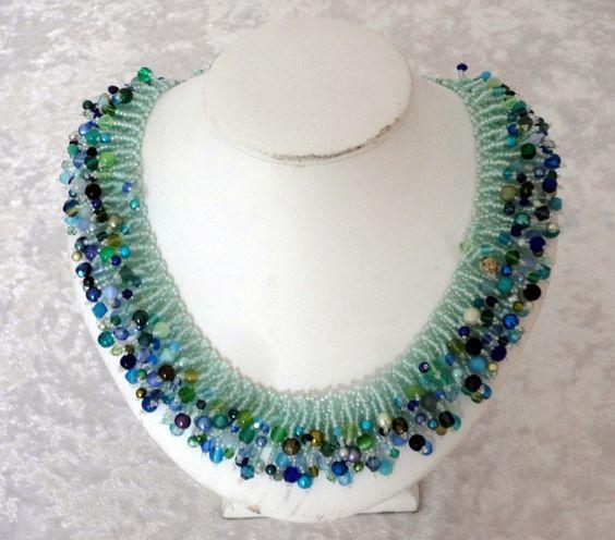 Fireworks necklace mint von Isabella´s Perlenkisterl auf DaWanda.com