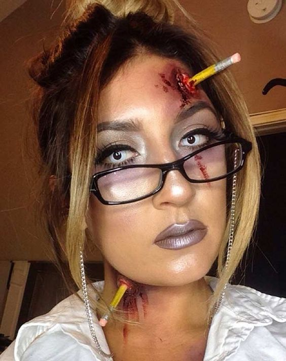 Zombie Teacher Easy Halloween Makeup Look