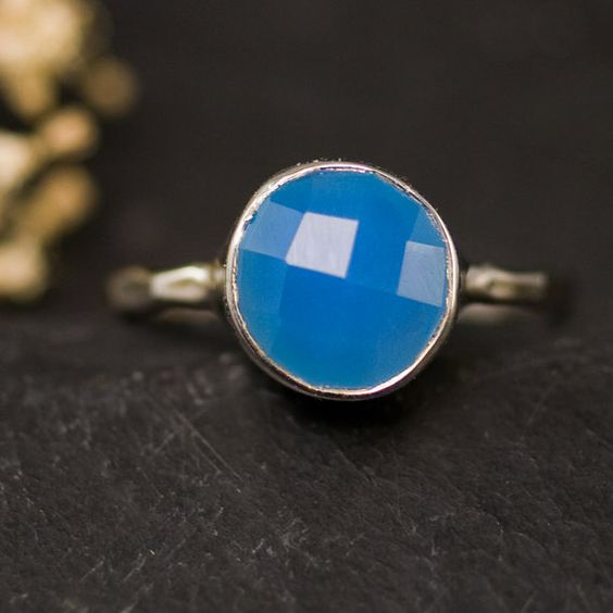 Deep Blue Chalcedony Ring - Gemstone Ring - Sterling Silver Ring - Bezel Set Ring - Size  4, 5, 6, 7, 8, 9 #EasyPin