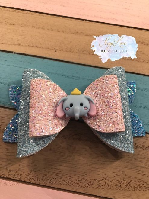 pink//pastels pink wings Handmade Glitter Surprise Doll Hair Bows With Wings