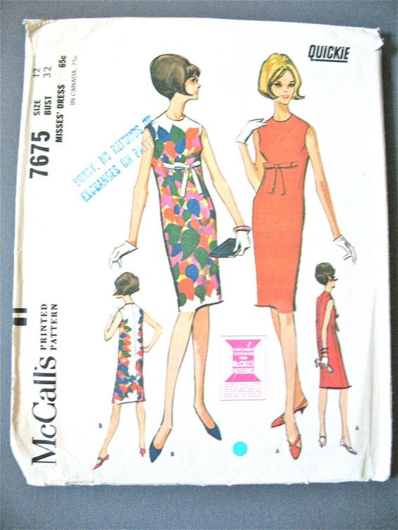 McCall's 7676 ©1965 Misses' Dress High neck, sleeveless back zipper 1960s Vintage Sewing Pattern  Bust 32