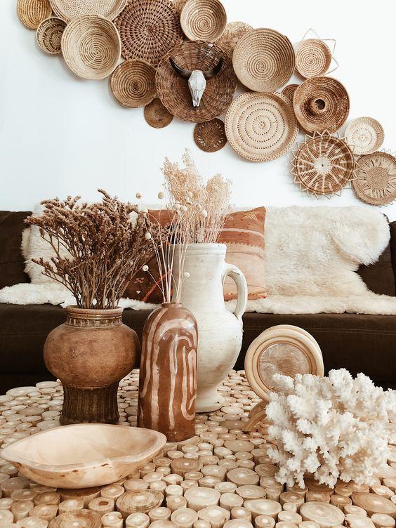 Decoration Ethnique Osier Rotin Basket Wall Decor Decor Nature Decor