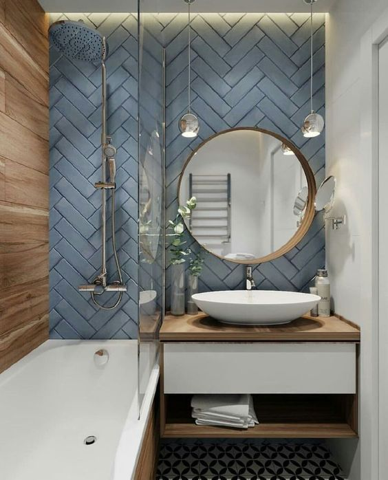 Grey Blue Herringbone Bathroom Tiles - Grey Blue Herringbone Bathroom Tiles. Image Source Unknown.