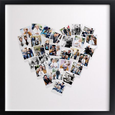 Personalized photo art: looks like a heart made out of Polaroid photos. Great grandma gift.