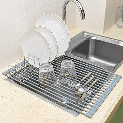 Ipegtop Roll Up Dish Drying Rack X Large 20 5 X 13 Over The Sink Dishes Pan Drying Rack Multipurpose Dish Drainer With Lid Plates Holder Durable Silicone Covered Stainless Steel Dish