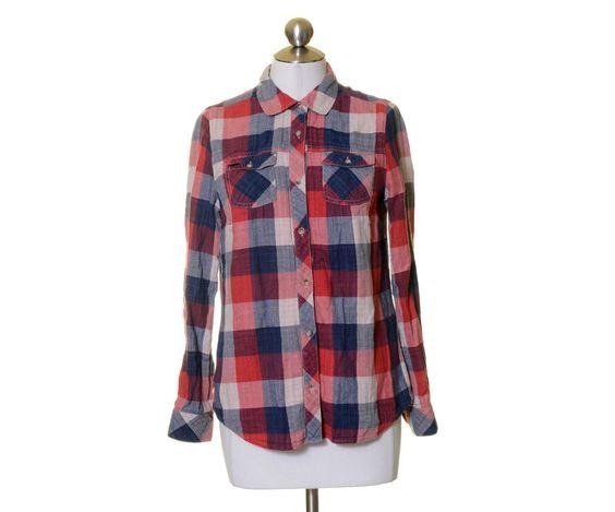 Eddie Bauer Red Navy Blue White Check Plaid Cotton Button Shirt Size S #EddieBauer #ButtonDownShirt #Casual