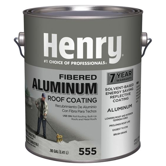 Henry Company Fibered Aluminum 0 9 Gallon Aluminum Reflective Roof Coating 7 Year Limited Warranty He555142 In 2020 Roof Coating Aluminum Uses Energy Saver