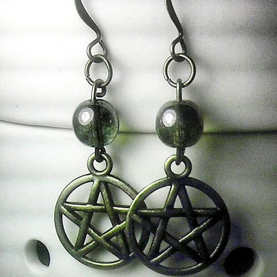 Czech Glass Bead and Pentacle Earrings Blessed Be by SpellboundToo
