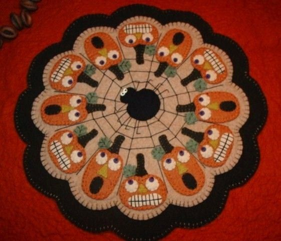Halloween Pumpkins and Spider Penny Rug Candle Mat DIGITAL PATTERN