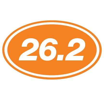 26.2 Oval Running Vinyl Decal - Orange