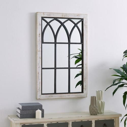 Firstime Firstime And Co 37 5 In L X 24 In W Distressed White Framed Wall Mirror In The Mirrors Depar In 2020 Arched Window Mirror Window Mirror White Distressed Frame