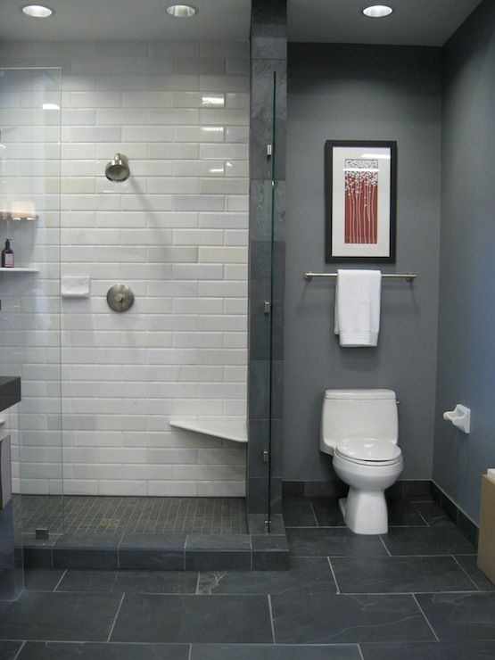 Grey paint white metro tiles grey floor tiles interior for Slate tile bathroom ideas