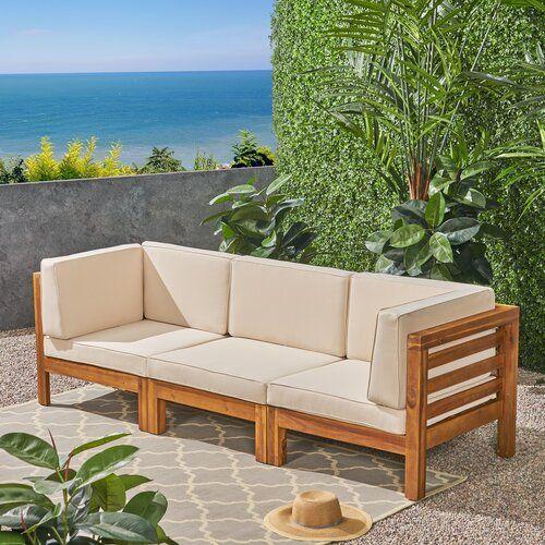 Brayden Studio Seaham Patio Sectional With Cushions Reviews Wayfair Wood Patio Teak Sofa Outdoor Furniture Sets