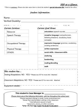 IEP at a Glance can be filled out by therapists or special education staff and given to the classroom teachers at the beginning of the school year....remember confidentiality. Repinned by SOS Inc. Resources @sostherapy.