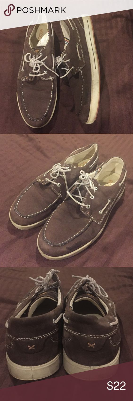 Ecco brown leather boat shoes size 14