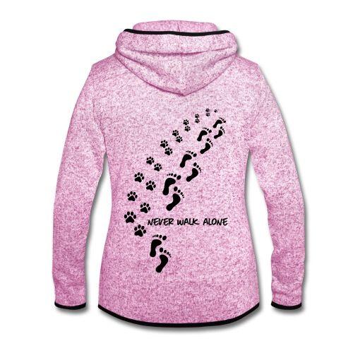 Hund Pfotenabdruck Fußspur Never Walk Alone Frauen T-Shirt mit gerollten Ärmeln