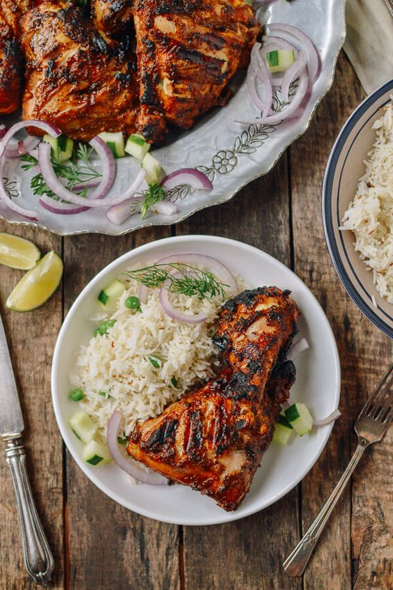 Grilled Tandoori Chicken with Indian-Style Rice, by thewoksoflife.com @thewoksoflife