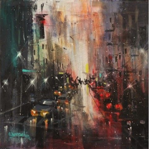 In The City by Tom Shropshire Acrylic ~ 12 x 12