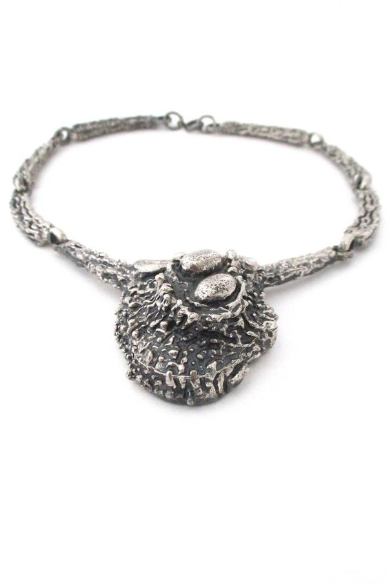 Robert Larin, Canada - large sculptural pewter 'nest' neck piece #Larin #necklace