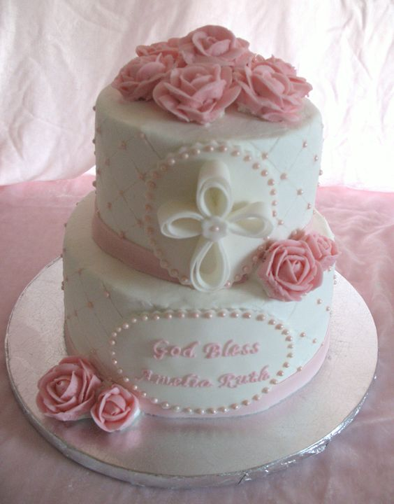 Baptism cake for baby girl baptism cake for baby girl buttercream icing buttercream roses - Baby baptism cake ideas ...