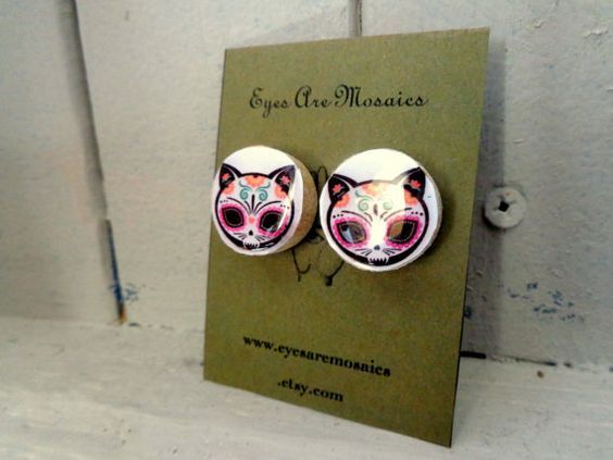 1' Wood Stud Earrings Domed Resin Cat Day of the by EyesAreMosaics
