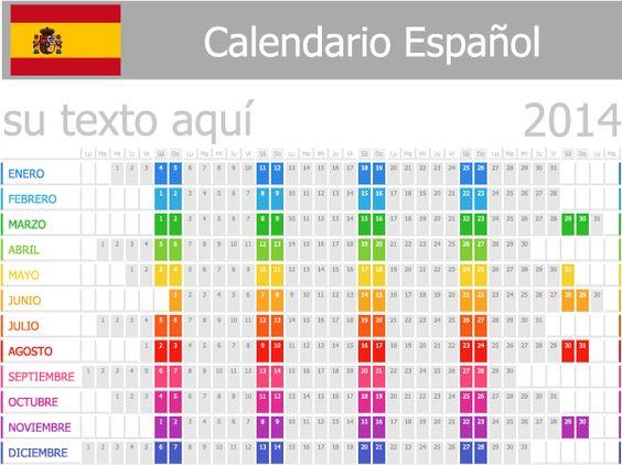calendario español 2014 vector