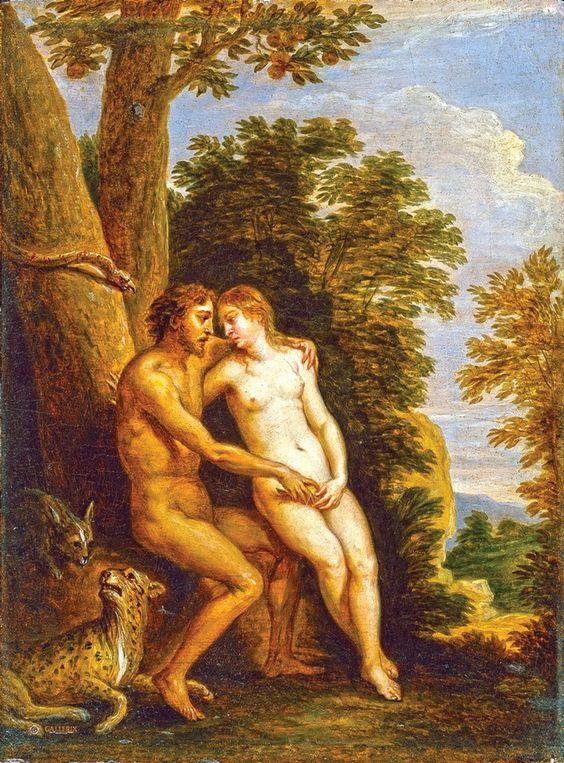Бытовая живопись: Адам и Ева в раю: