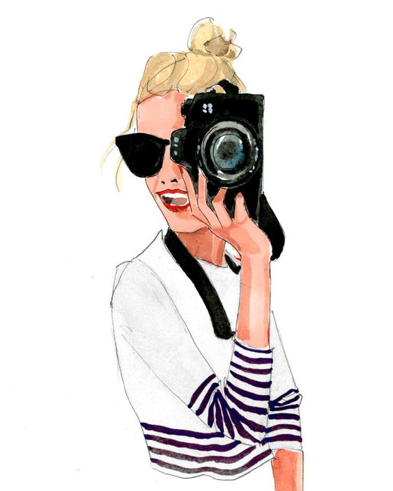 Art Print: Camera Girl in Navy and White