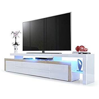 Meuble Tv Bas Leon V3 Corps En Blanc Haute Brillance Facades En Blanc Haute Brillance Avec Une Bodure En Blanc Haut En 2020 Meuble Tv Bas Meuble Tv Meuble Tv Suspendu