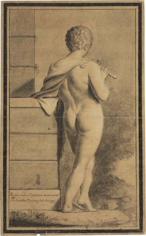 Ignoto del XIX secolo - Giovane di spalle che suona il flauto - Matita, carboncino e biacca su carta riquadrata a carboncino - mm. 471x292