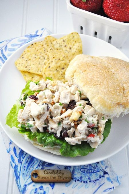 Crunchy & Healthy #Chicken Salad Sandwich #Recipe with Salad Fixin's