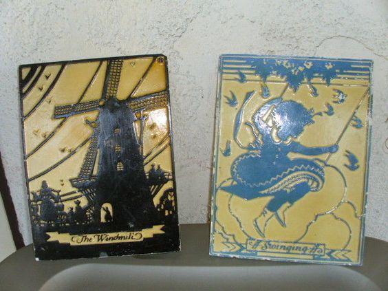 Pair Vintage Plaster Decorative Tiles Windmill Girl Swinging Black Blue Cream  #unknown