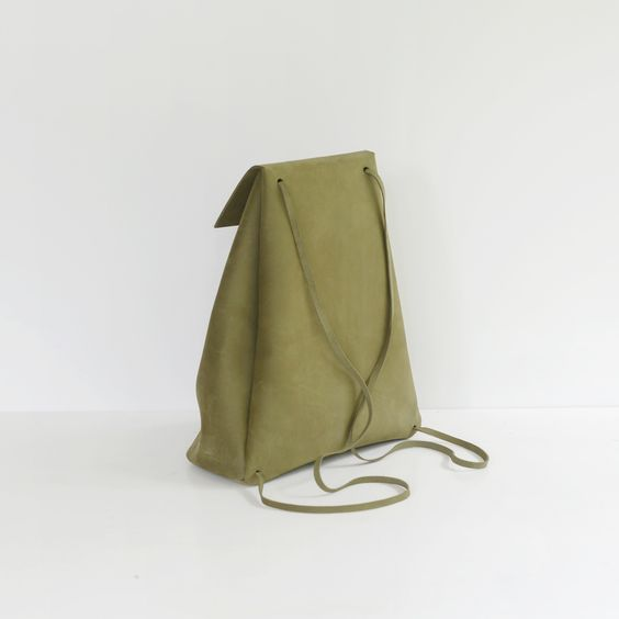 nubuk khaki handmade backpack III