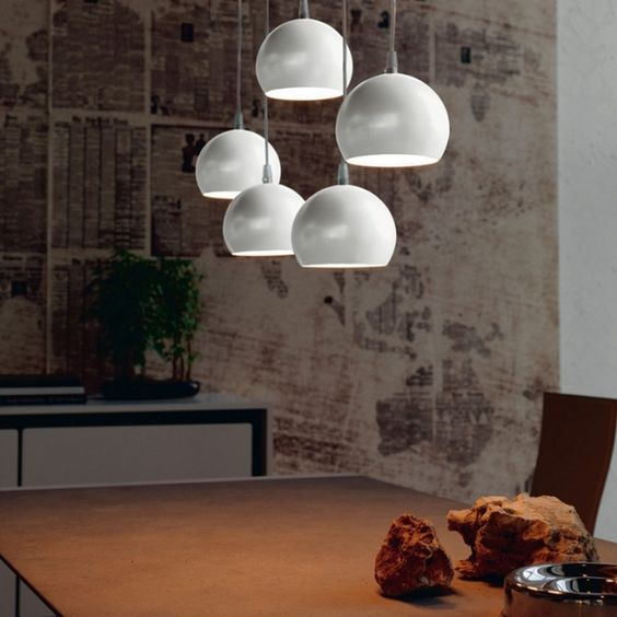 Hemisphere-shaped lamps Hanging design white matt surface cattelanitalia