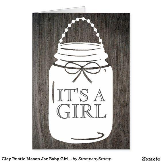 Clay Rustic Mason Jar Baby Girl Announcement