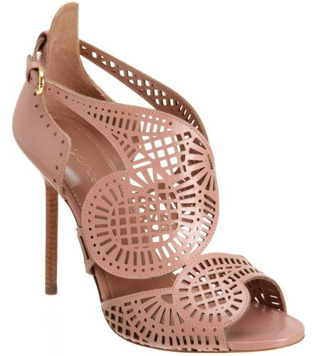 Sergio Rossi Laser Cut Sandal in Antique Rose These Sergio Rossi sandals have a very structural feel that would juxtapose breezy skirts and dresses perfectly. You could also add them to jeans and a pretty coordinating blush colored sheer blouse.