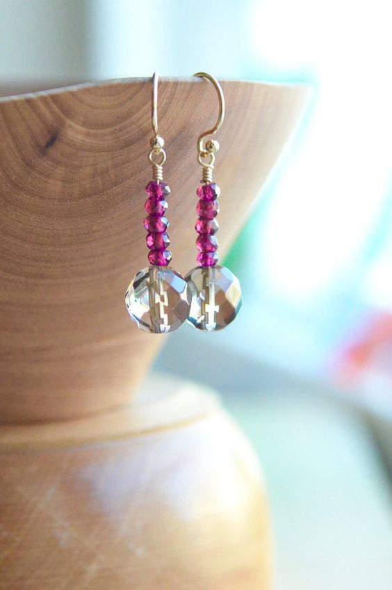 Garnet and smoky quartz earrings pink and brown by AlaskaDaisy