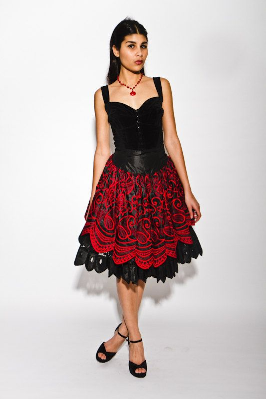 vintage 1980s/90s french designer Lolita Lempicka tiered embroidered spanish flamenco skirt