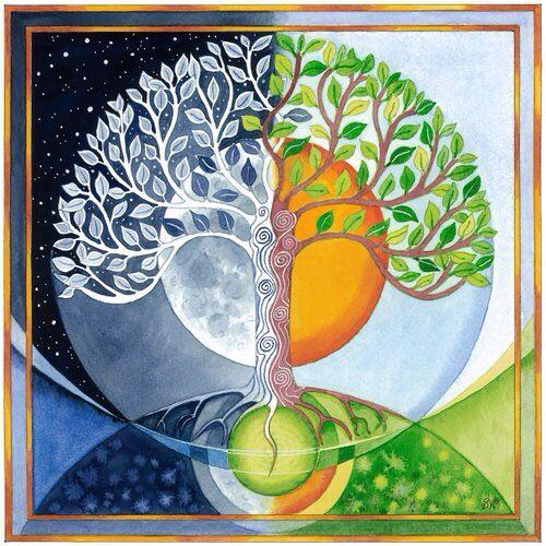 Tree one half moon & one half sun yin yang art