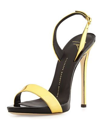 Metallic High-Heel Halter Sandal, Gold/Black by Giuseppe Zanotti ...