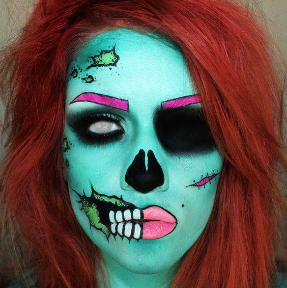 Pop Art Zombie Makeup Tutorial thanks to /u/sssamantha on reddit's /r/MakeupAddiction!  Much better than all the damn pop art/Lichenstein makeup tutorials.