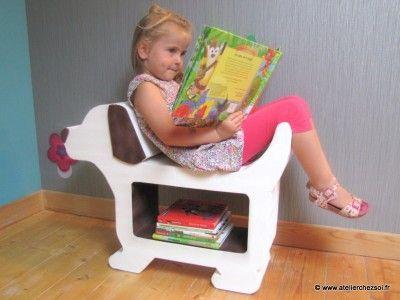 meuble en carton en forme de chien rangement et banc pour enfants patron taille r elle p25. Black Bedroom Furniture Sets. Home Design Ideas