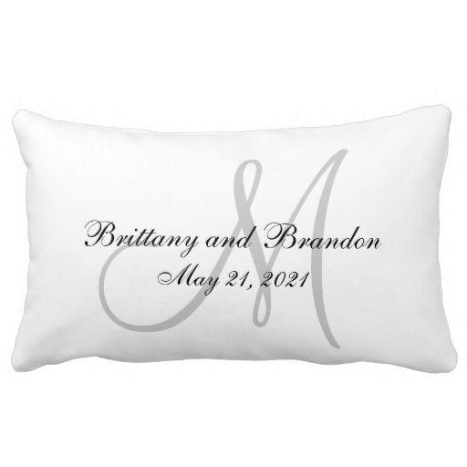 Gray Monogram Wedding Pillows